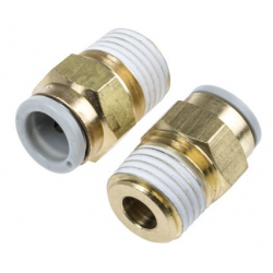 Straight Threaded-to-Tube Adapter, R 1/4 Male, Push In 8 mm